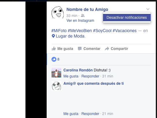 Como parar notificaciones Facebook